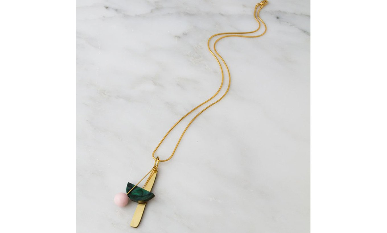 Wolf & Moon Abstract I Necklace in Green Marble