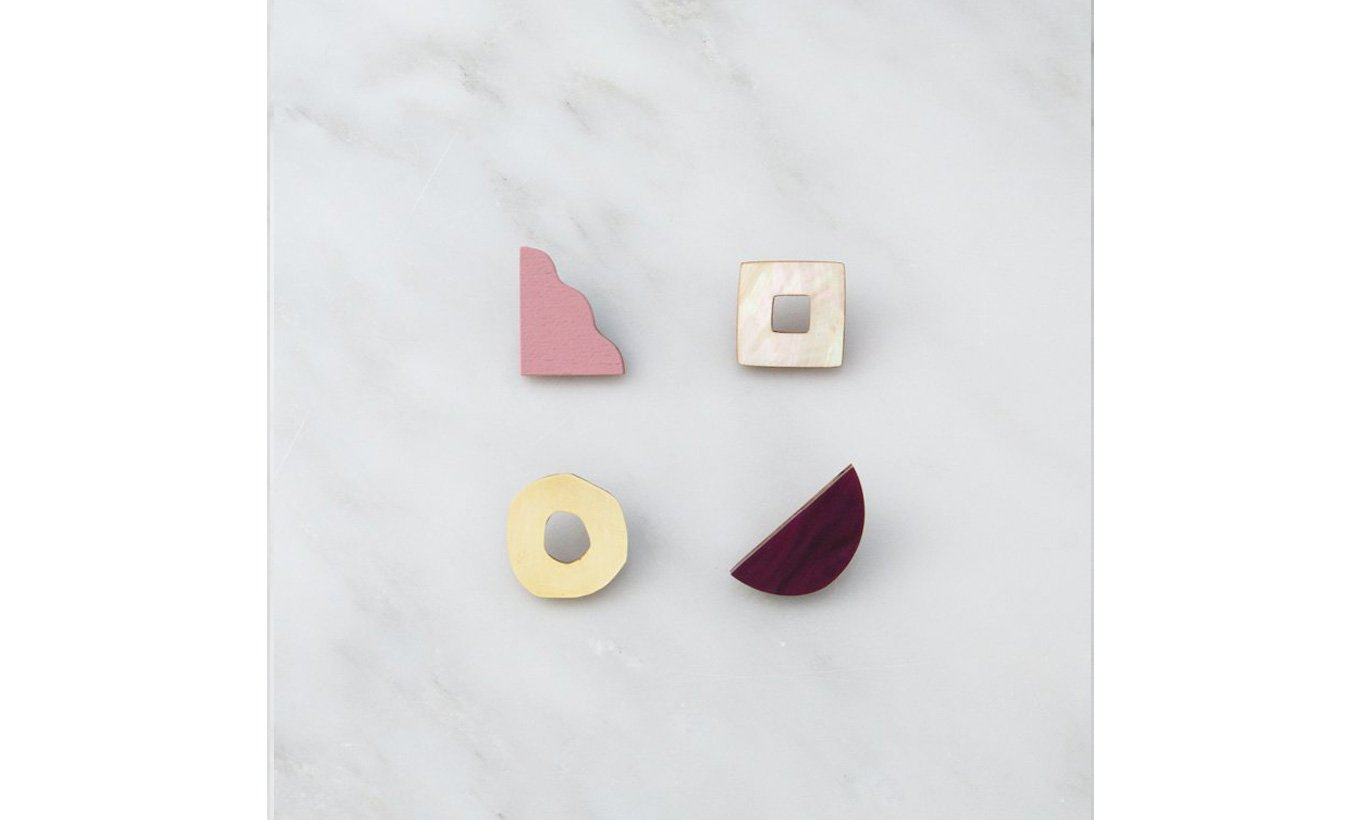 Wolf & Moon Collage Studs in Cherry