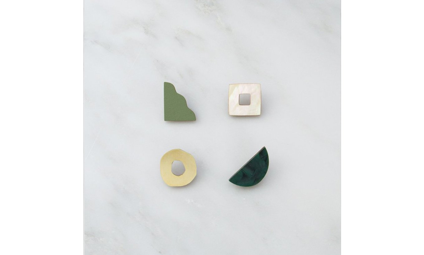 Wolf & Moon Collage Studs in Green Marble