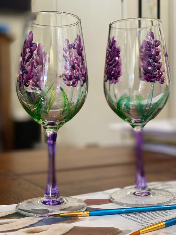 Wine Glass: hand painted Lavender
