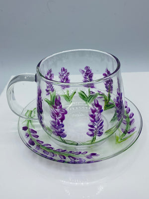 Glass Tea Cup & Saucer Hand Painted