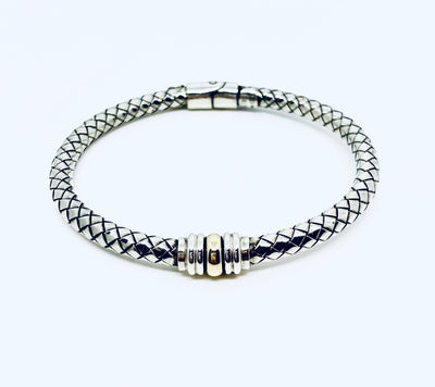 Basket Weave Bangle Bracelet, Sterling Silver