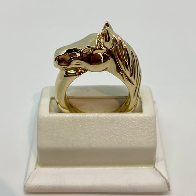 Ashley's Horse Head Ring, 14k Yellow Gold