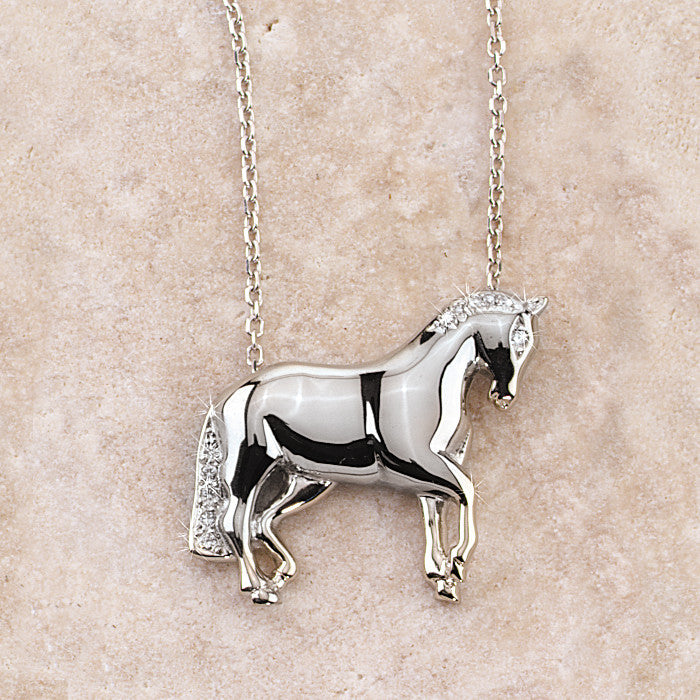 Dressage Horse Necklace, 14k Gold