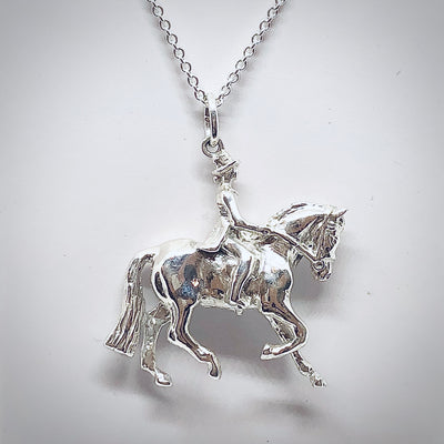 Dressage Horse & Rider Necklace, Sterling Silver
