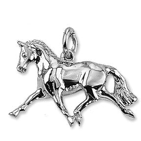 Extended Trot Horse Charm, Sterling Silver