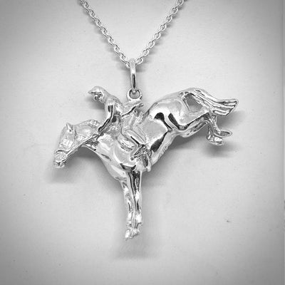 """Jump Cleared"" Horse & Rider Jumper Necklace"