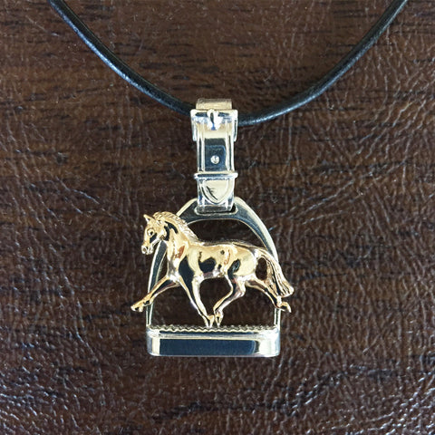 Extended Trot Horse Stirrup Pendant, Sterling & 14k gold