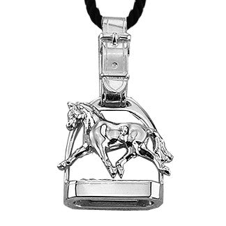 Extended Trot Horse Stirrup Pendant, Sterling Silver