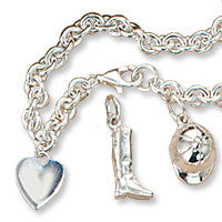 Charm Bracelet with Heart, Sterling Silver