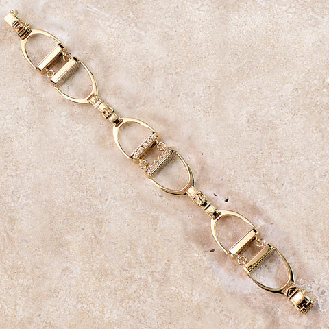 Diamond Stirrup Bracelet, 14k gold