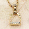Diamond Stirrup Pendant, 14k gold (Large)