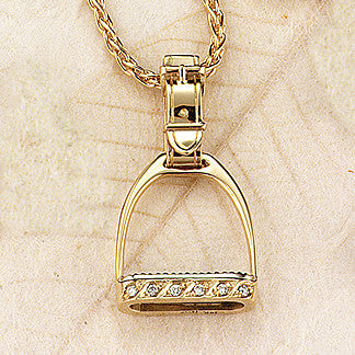 Diamond Stirrup Necklace, 14k gold (Large)