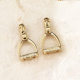 Diamond Stirrup Earrings with straps, 14k gold