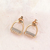 Diamond Stirrup Earrings, 14k gold