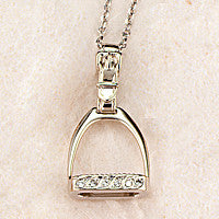 Diamond Stirrup Necklace, 14k white gold (Medium)