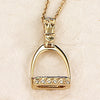 Diamond Stirrup Pendant, 14k gold (Medium)