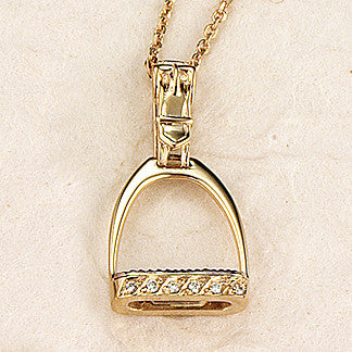 Diamond Stirrup Necklace, 14k gold (Medium)