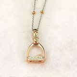 Diamond Stirrup Necklace, 14k gold (Small)