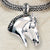 Ashley's Braided Horse Head Pendant, Sterling Silver