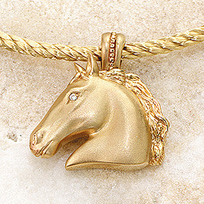 Ashley's Equus Horse Head Necklace, 14k Gold