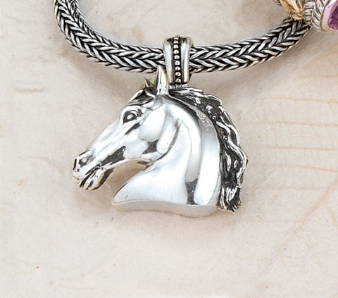 Ashley's Equus Horse Head Necklace, Sterling Silver