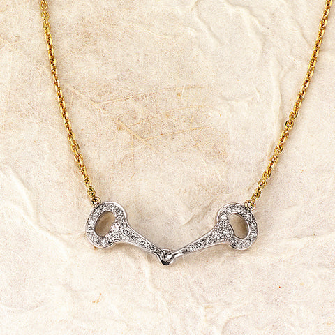 Ashley's Pave' Diamond Bit Necklace, 14k white gold