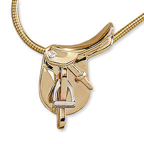 English Saddle Necklace, 14k gold
