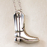 Western Boot Necklace, Sterling Silver