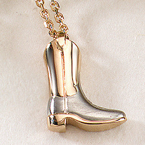 Western Boot Necklace, 14k gold
