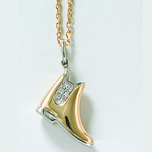 Diamond Pave' Paddock Boot Necklace 14k Gold
