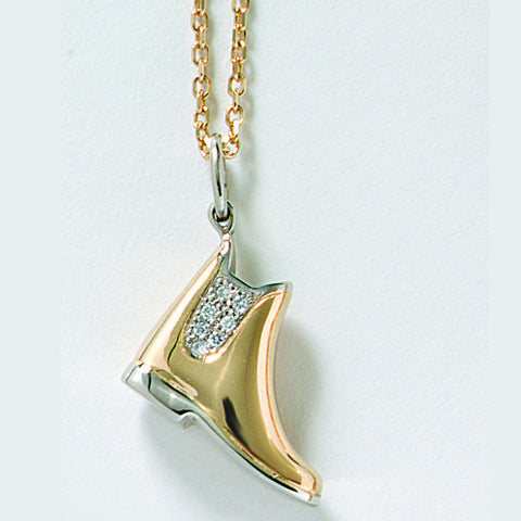 Diamond Pave' Paddock Boot Pendant, 14k Gold
