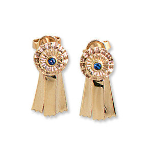Blue Ribbon Earrings, 14k Gold