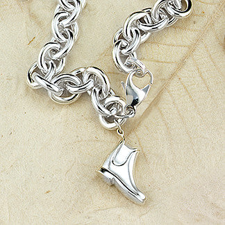 Paddock Riding Boot Charm, Sterling Silver