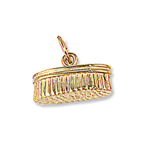 Grooming Brush Charm, 14k gold