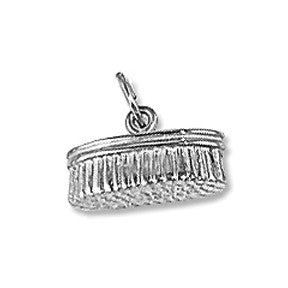 Grooming Brush Charm, Sterling Silver