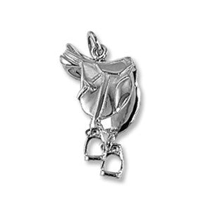 English Saddle Charm, Sterling Silver