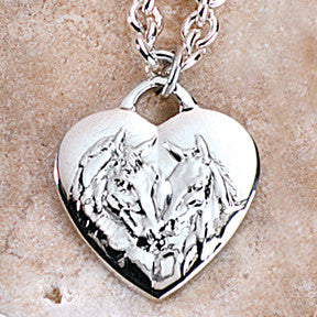 Mare & Foal EPM Heart Necklace, Sterling Silver