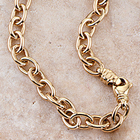 Oval Cable Charm Bracelet, 14k Gold