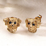 Puppy Dog Earrings, 14k gold