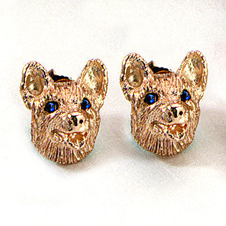 Corgi Earrings, 14k Gold