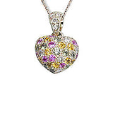Diamond & Multi Color Sapphire Heart Necklace, 18k gold