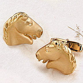 Golden Horse Head Cufflinks, 18k Gold