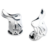 English Saddle Cuff Links, Sterling Silver
