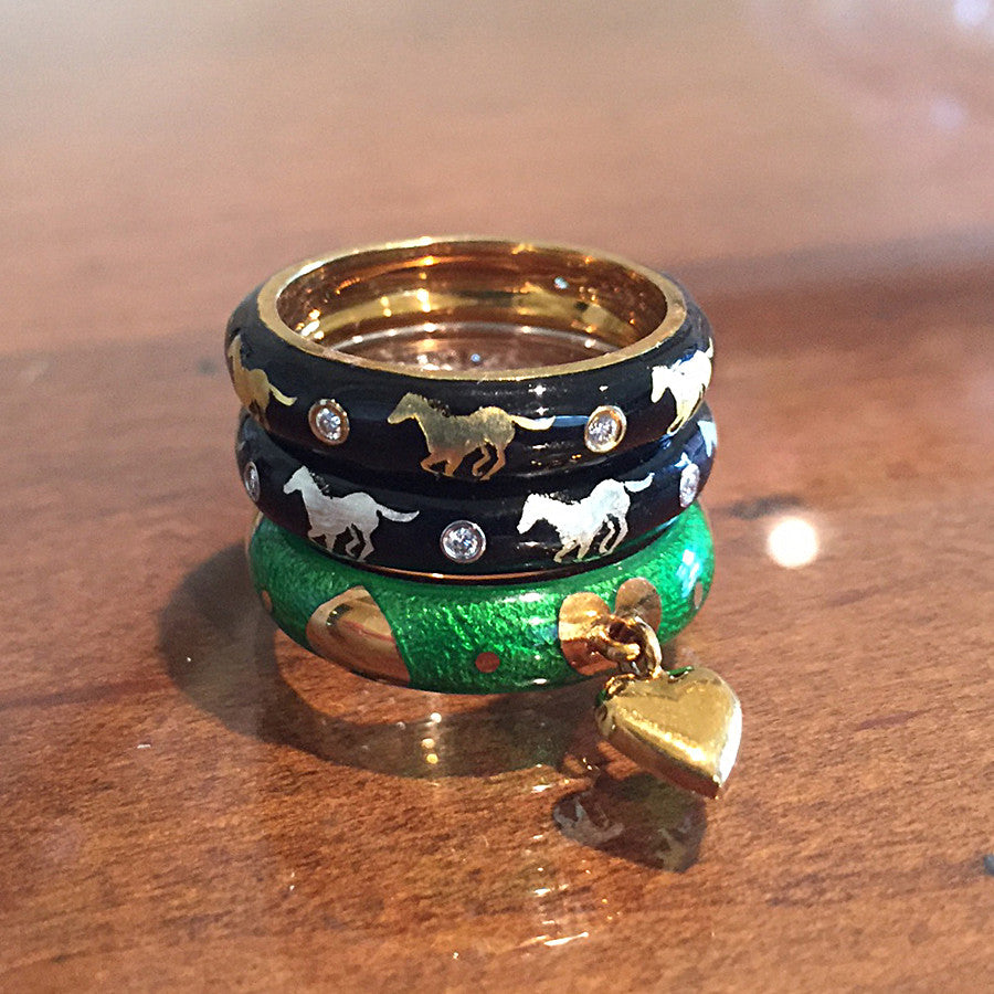 Enamel Horse Diamond Ring, 18k gold
