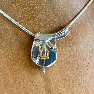 English Saddle Pendant, Sterling Silver