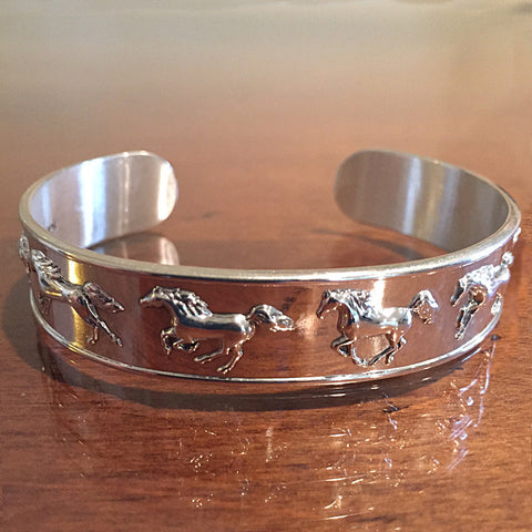 Cantering Horse Cuff Bracelet, Sterling Silver