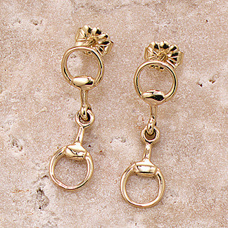 Snaffle Bit Earrings, 14k Gold