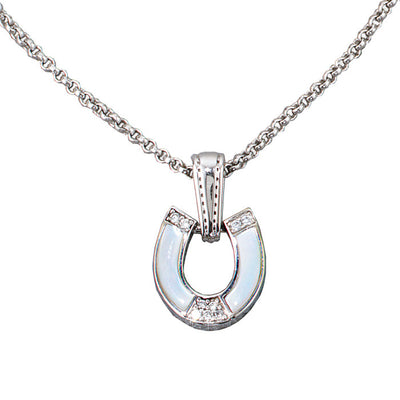 Diamond, Mother of Pearl Horseshoe Pendant, 14k Gold