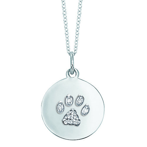 Dog Paw Print Necklace, 14k gold